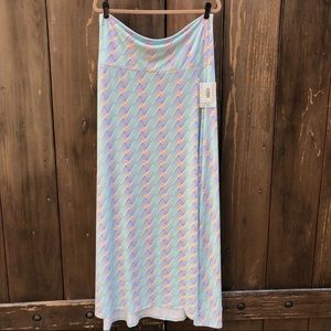 NWT LULAROE PASTEL COLORS ABSTRACT MAXI SKIRT SZXL